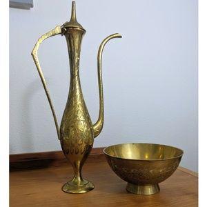 HP🥳 Vintage Brass Tea Pot Bowl/Cup Leaf Set India